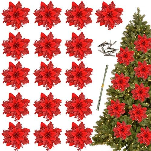 Greentime 16 Pcs 14cm 5 5in Red Poinsettia Artificial Christmas Flowers with Clips and Stems product image