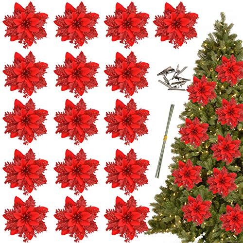 Greentime 16 Pcs 14cm / 5.5in Red Poinsettia Artificial Christmas Flowers with Clips and Stems Glitter Christmas Tree Poinsettia Decorations for Thanksgiving Xmas Wedding Party Wreath