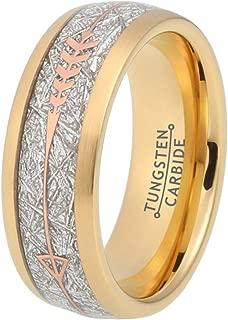 BestTungsten 8mm Silver/18K Gold/Rose Gold Tungsten Rings for Men Women Wedding Bands Meteorite Arrow Inlay Hunting Jewelry Comfort Fit