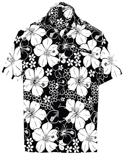 LA LEELA | Funky Camicia Hawaiana da Uomo | Maniche Corte | Tasca Frontale | Stampa Hawaiana | Spiaggia Floreale Fiore Ibisco Stampato Nero_W299 L - Torace (in CMS) : 111-121