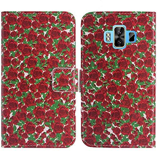 TienJueShi Rose Blume Flip Book-Style Brief Leder Tasche Schutz Hulle Handy Hülle Abdeckung Fall Wallet Cover Etui Skin Fur M-Horse Pure 1 5.7 inch