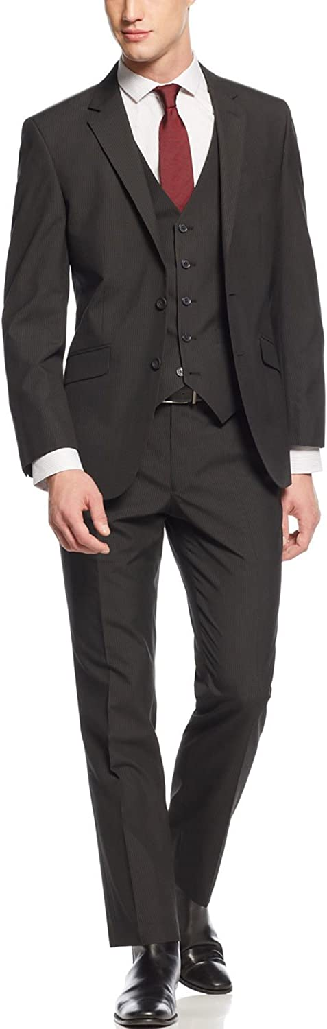Kenneth Cole Regular Fit Black Pinstriped Two Button Suit
