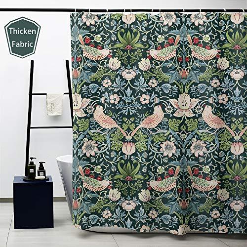 Obal Duschvorhang, Badezimmervorhänge, wasserdicht, Anti-Schimmel-Polyester-Stoff, schweres Dekor mit Vorhanghaken, waschbar, 180 cm x 180 cm Erdbeerdieb (12 Vögel)