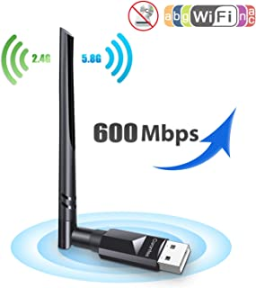 Carantee USB WiFi Adapter Wireless Network WiFi Dongle with 5dBi Antenna for PC/Desktop/Laptop/Mac, Dual Band 2.4G/5G 802.11ac,Support Win, Mac (600M NO CD)