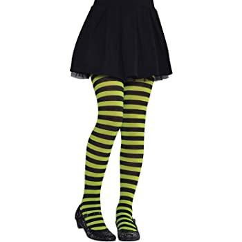 Child Green And Black Striped Tights Witch Halloween Girls Kids Fancy Dress