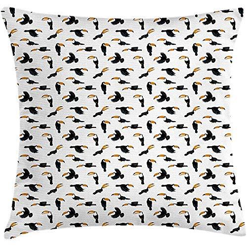 QDAS Vogel Print Kussen Kussen Cover Grappige Toucans met Grote snavel en Gedetailleerde Vleugels Vierkant Accent Kussensloop Grijs Donker Geel