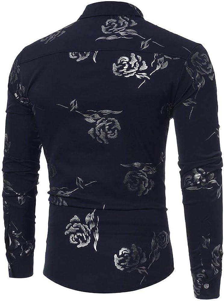 Camisas para Hombres,Dragon868 2020 Venta de liquidación Hombres Casual Rose Impreso BusinessTop Camisa