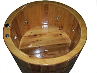 Wood Bathtub - Freestanding - Cypress - Round - Ofuro – Naturally Relaxing - Renewable and Eco-Friendly – No special care - Pass Building Inspection - Made in USA (With Heater and Small Recirc Pump)