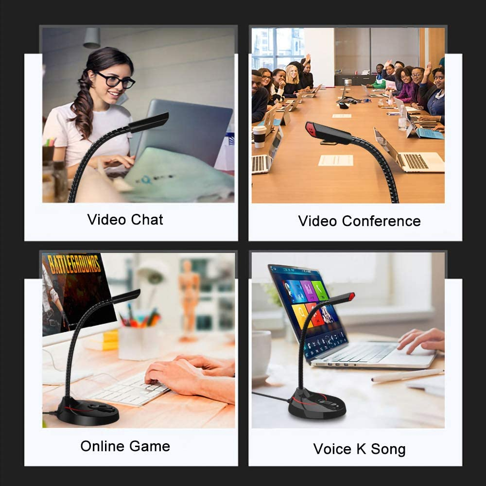 Plug/&Play Desktop Omnidirectional Condenser PC Laptop Mikrofon Kompatibel mit Windows//Mac,f/ür YouTube,Skype,Recording,Games QILERUI USB Computer-Mikrofon