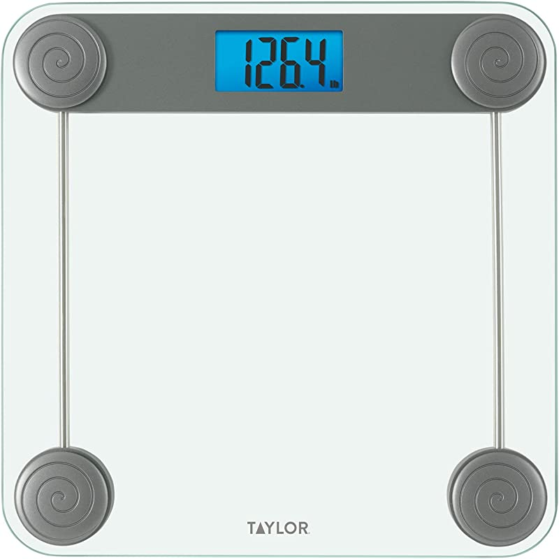Taylor Precision Products Taylor Glass Digital Bathroom Scale With 3D Corner Accents