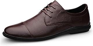 DADIJIER Oxfords Vestido Zapatos para Hombres Plaid Round Captoe 3-Eye Lace Up Transpirable Bajo Bloque Tacón de Cuero Gen...