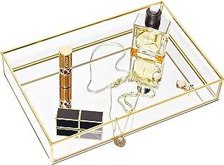 KH Gold Mirror Tray Jewelry Organizer Vanity Tray Jewelry Tray Perfume Tray Dresser Tray Decorative Tray, Glass Metal Make...