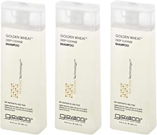 Giovanni Eco Chic Golden Wheat Shampoo - Deep Cleansing With Botanical Oils, 8.5 Ounces (Pack of 3)