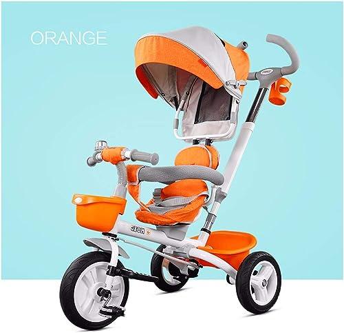 auténtico JYY Trike para Niños Niños Niños de 2 años con Pedales para Padres Triciclo de bebé Plegable para 1 año de Edad,naranja-1  producto de calidad