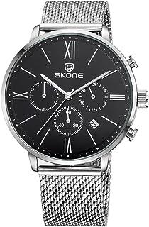 SKONE 2016 Brand Fashion Luxury Full Steel Men Casual Wristwatch Calendar Waterproof Mans Business Dress Watch W/Sub-dials