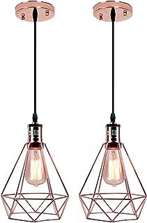 Pauwer Geometric Metal Cage Pendant Light Pyramid Vintage Edison Ceiling Pendant Light Fixture (Rose Gold Pack of 2)