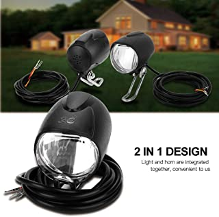 Vbestlife Bike Light with Horn, E-Bike LED Light Bicycle Bells Bicycle Horn Universal Voltage 2 in 1 Headlight Front Light LED Lamp Horn for Electric Bicycle E-Bike