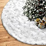 Soqool FantaspicSeriesTree Skirt, White Sliver Snowy 48 inches Faux Fur Christmas Party Decorations Festival Supplies
