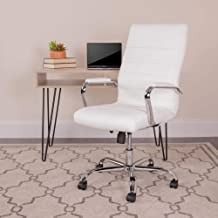 Flash Furniture High Back Office Chair | White LeatherSoft Office Chair with Wheels and Arms, BIFMA Certified