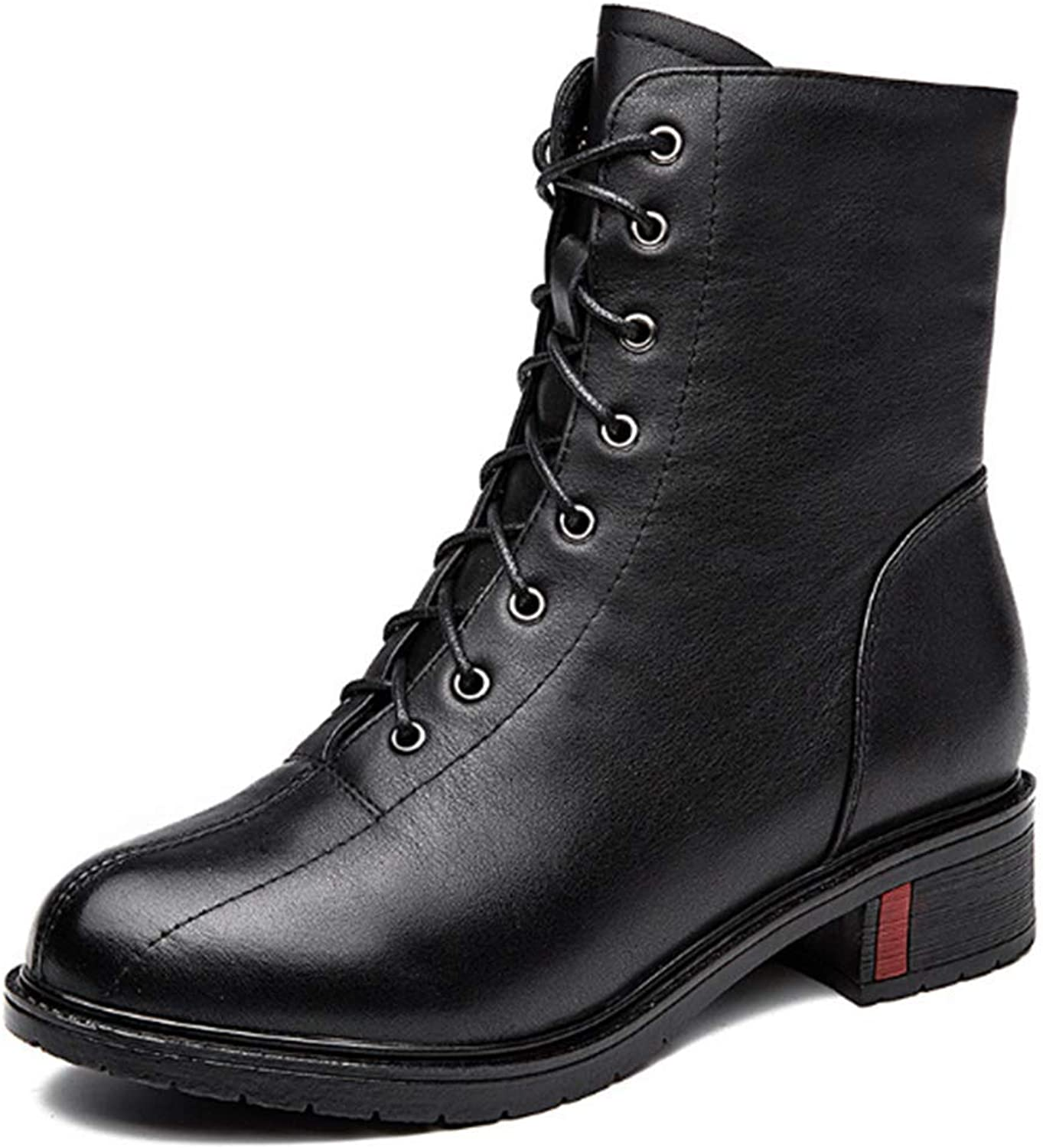 BREAORTION Women's Casual Genuine Leather Martin Boots Fashion Ladies Lace-up Ankle Boots