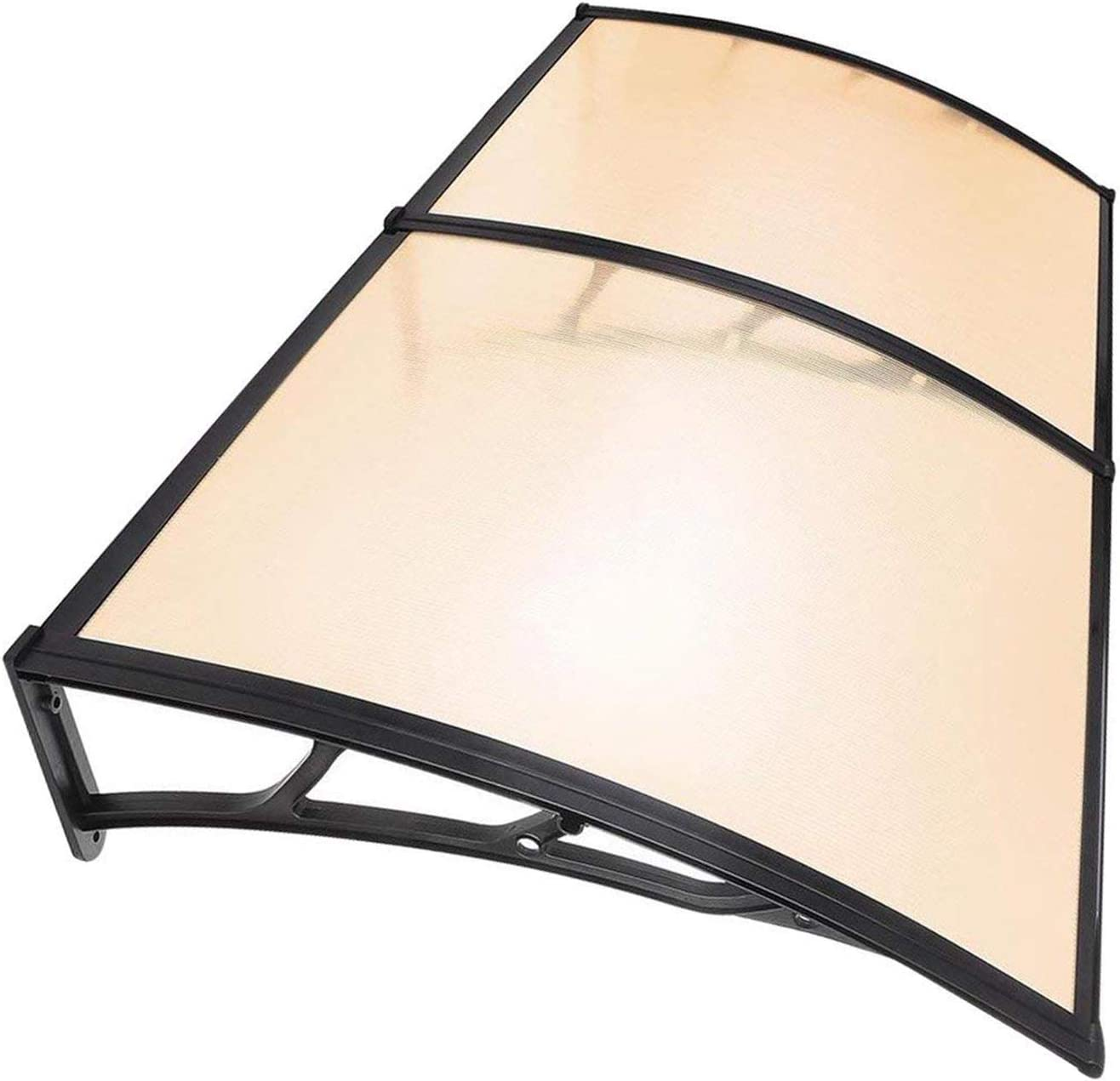6.5 FT, Coffee Koval Inc 6.5 ft DIY Overhead Clear Outdoor Awning Patio Cover Door Window Polycarbonate Modern Design UV Rain Sunshine