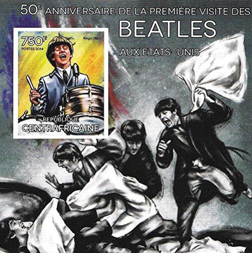 Francobolli da collezione - foglio 50 ° anniversario dei Beatles con Ringo Starr MNH foglietto Imperforate/Africa Centrale / 2014