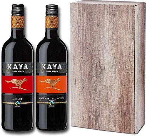 Kaya Fairtrade Trocken - Rotwein Weinpaket aus Südafrika - Geschenkpackung (2 x 0.75 l)