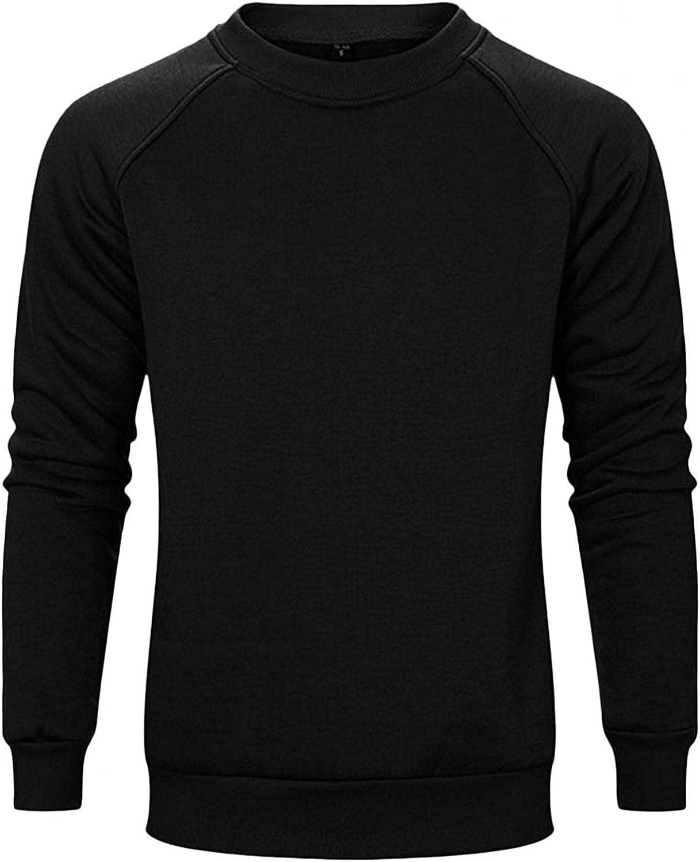 Qsctys Men's Fleece New arrival Crewneck Sweatshirts Fit Pullover Long Over item handling ☆ Slim