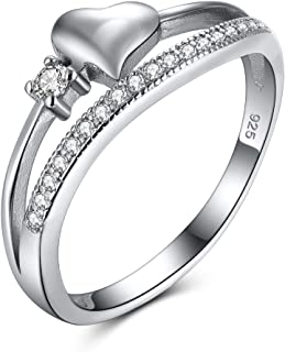 DALARAN Sterling Silver Heart Promise Ring for Women Cubic Zirconia Wedding Band Engagement Rings