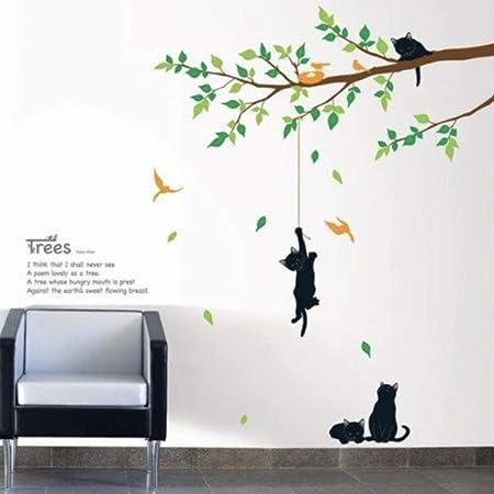 ウォールステッカー 猫と木