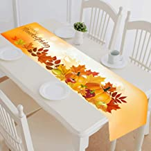 FMSHPON Pumpkin Fruits Autumn Maple Happy Thanksgiving Table Runner Home Decor for Kitchen Dining Wedding Party Table Line...