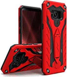 Zizo Static Series Compatible with Samsung Galaxy S8 Case Military Grade Drop Tested with Built in Kickstand RED Black