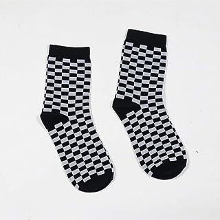 DYCZWZ, Ocio Deporte Calcetines 2 Pares Calcetines De Algodón Street Style para Mujer Calcetines De Skate Cuadrados Blancos Y Negros Calcetines De Hip Hop Chic Checkerboard