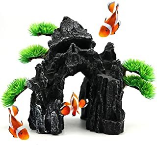 kathson Skull Mountain Aquarium Ornament Fish Tank Resin Decoration Rock Landscape Plant Decor Fish Hideout Cave for Shrim...