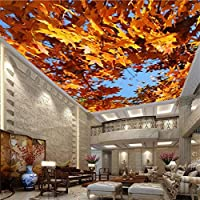 カスタム写真の壁紙3d大壁画美しいカエデの葉青空壁紙リビングルーム寝室の天井壁壁画-400x280cm/157.5x110.2inch