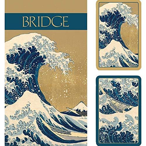Caspari The Great Wave Bridge Gift Set, 2 Playing Card Decks & 2 Score Pads