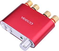 Yeeco Hifi Mini Bluetooth Amplifier 50W+50W DC 9-24V Dual Channel Wireless Bluetooth Stereo Audio Receiver Power Amp Ampli Board with Power Supply Adapter for Home Sound Audio Computer Laptop (Red)