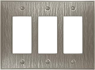 Twill Textured Decorative Switch Plate Wall Plate Outlet Cover | Questech Cast Metal Composite | Made in the USA (Triple Decorator, Brushed Nickel Polished)
