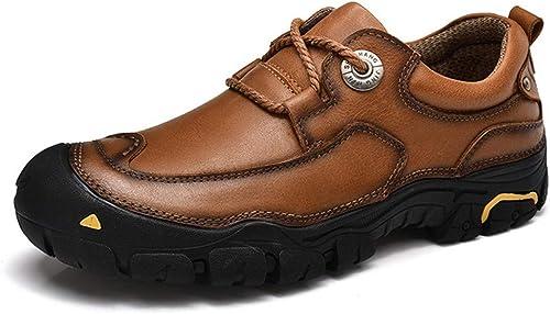 HILOTU botas con Cordones y Botines con Cordones de la Moda de los hombres Costuras clásicas de Alta Costura con Punta rojoonda más Chukka (Opcional de Terciopelo cálido)
