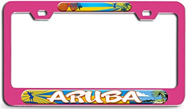 Makoroni - Aruba Surfing Pn Steel License Plate Frame - License Tag Holder 3D Design