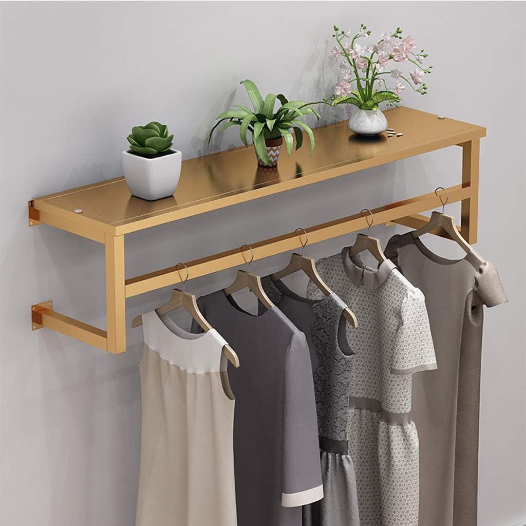Size : 60 * 28cm Golden Floating Shelf with Hanging Rod,Wall Mounted Clothing Display Rack,Garment Rack,Coat Rack with Shelf,Iron Finished