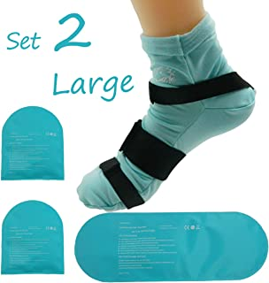 Cold Therapy Socks (w/Compression Strap) - Ice Pack Socks Man/Woman Cooling Socks Gel Ice Treatment for feet, Heels, Swelling, Arch Pain (Large)