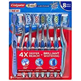 Colgate Total Plus Whitening with 360 Polishing Cups Medium Toothbrush, 8 Count