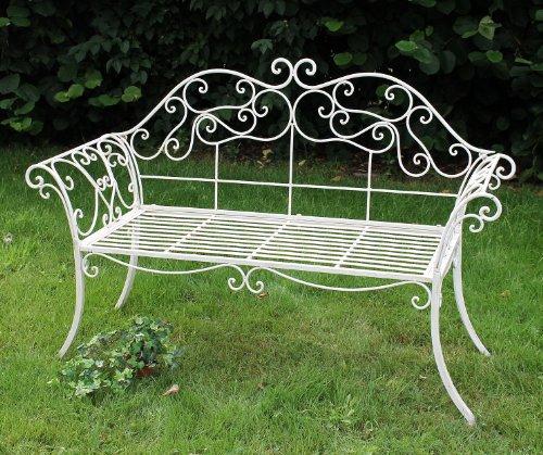 DanDiBo Gartenbank Romance Weiß 111183 Bank 146 cm aus Schmiedeeisen Metall Sitzbank - 8
