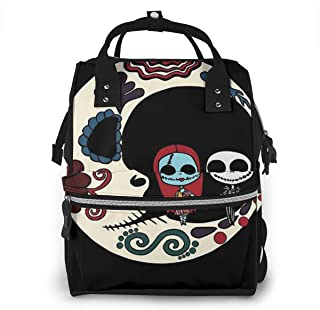 Diaper Bag Backpack - Jack and Sally On Sugar Skull Moon Multifunction Waterproof Travel Backpack Maternity Baby Nappy Changing Bags