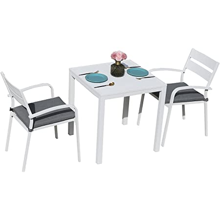 Soleil Jardin Outdoor Aluminum 3-Piece Patio Dining Set, Stackable Bistro Chairs w/Padded Cushion & Square Slatted Table for Balcony, Garden, Backyard, White Finish & Grey Cushion