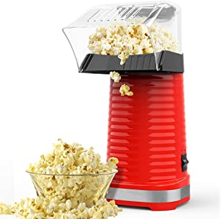 Hot Air Popcorn Machine, Popcorn Maker, 1200W Hot Air Popcorn Popper for Home, BPA-Free, No Oil Needed Healthy Family with Measuring Cup and Removable Cover (Red)