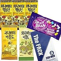 ハニーバターミックスナッツ30g x 3個 +ハニーバターアーモンド35g x 1個 +ワサビ味アーモンド35gx 1個+The Jelly Bean Factory 36 huge Flavours 50g x 1個 + The PACK FOR MEN 1枚 フェイスマスク 男性用スキンケア