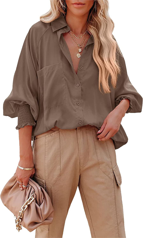 Women's Oversized Button Down Shirts Collared V Neck Lantern Sleeve Loose Boyfriend Blouse Tops