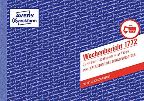 AVERY Zweckform 1772 Wochenbericht (A5 quer, selbstdurchschreibend, von Rechtsexperten geprüft, für Deutschland/ Österreich zur wöchentlichen Dokumentation der Arbeitsleistung, 2x40 Blatt) weiß/gelb
